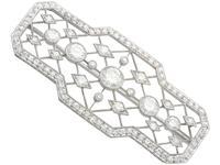 3.78ct Diamond & Platinum Brooch - Art Deco - Antique c.1920 (2 of 9)