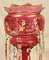 Antique Victorian Cranberry Mantle Table Lustre (3 of 8)