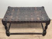 Art Deco Original English Handmade Oak & Leather Strapped Brass Studded Footstool (2 of 22)