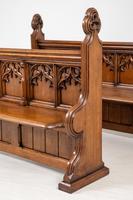 Pair of Victorian Carved Oak Pews (7 of 11)
