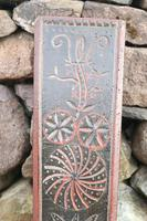 Scandinavian / Danish 'Folk Art' Horse handle mangle board with chip carving & original  black/red paint BPD c.1820 (9 of 19)