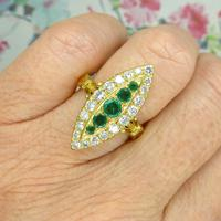 Vintage 18ct Gold Emerald & Diamond Marquise / Navette Cluster Ring c.1920s ~ With Independent Appraisal Valuation (3 of 9)