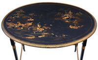 Victorian Oriental Chinoiserie Nest of Decorated Black Lacquer Tables (6 of 10)
