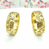 Vintage 9ct Solid Gold Engraved Wedding Band Dated London 1969~ Etched Ring (8 of 11)