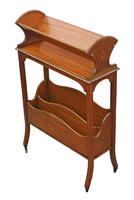 Victorian 19th Century Satin Walnut Bookcase / Book Trough (6 of 6)