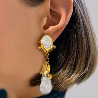 "Yves Saint Laurent Earrings Rive Gauche Dangle 3"" Long Vintage YSL Glass Earrings (7 of 7)"