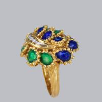 Vintage Diamond and Blue & Green Enamel Ring 18ct Gold Bombé Ring (8 of 21)