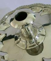 Huge Heavy Mexican Solid Sterling Silver Chamberstick Candlestick Holder c.1930 (2 of 8)