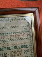 """Large Antique Needlework Sampler 1837 Elizabeth Starkey. in Frame 20"""" x 20"""" (3 of 12)"""