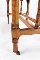 Victorian Gothic Revival Oak Dining Table / Stretcher Table (5 of 13)