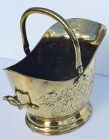 19th Century Embossed Brass Coal Scuttle (2 of 3)