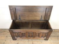 Early 20th Century Antique Carved Oak Blanket Box (5 of 9)