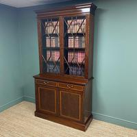 Exceptional Inlaid Victorian Antique Glazed Bookcase by Edwards and Roberts (3 of 10)