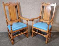Pair of Oak Reproduction High Back Armchairs (9 of 11)
