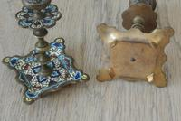 Good Pair of 19th Century French Enamel Champlevé Brass Candlesticks (5 of 6)