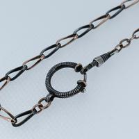 Antique Niello Silver and Gold Watch Chain Bracelet with Dog Clip and Bolt Ring (3 of 8)