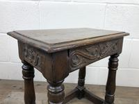 Antique Oak Joint Stool with Carved Detail (3 of 13)