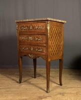 Petite Size French inlaid Marble Top Commode / Chest