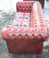 1960s Chesterfield Red Leather 3 Seater Sofa with Union Jack on Seat (3 of 3)