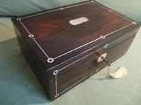 Inlaid Rosewood Jewellery Box + Tray. Plush Interior c 1845 (8 of 12)