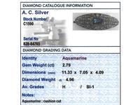 2.79ct Aquamarine & 4.96ct Diamond, 18ct White Gold Brooch - Antique French c.1910 (8 of 9)