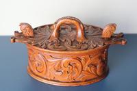 Scandinavian / Norwegian 'Folk Art' Baroque / Acanthus Carved Tine Box c.1910 (5 of 39)