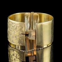 Antique Victorian Engraved Cuff Bangle Silver Gold Gilt c.1880 (4 of 5)