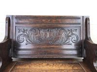 Antique Carved Oak Monks Bench (5 of 10)