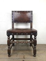 Set of Six Oak and Leather Dining Chairs (3 of 23)