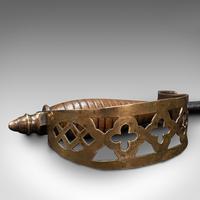 Antique Sword Poker, English, Oak, Brass, Steel, Fireside Tool, Edwardian, 1910 (9 of 12)