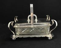 Late Victorian Silver Plated and Glass Sardine Dish. (5 of 5)