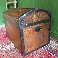 Antique Steamer Trunk Victorian Dome Top Chest Old Rustic Pine Blanket Box + Key (8 of 10)
