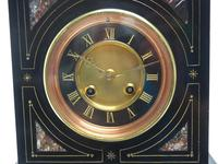 French Slate & Marble Mantel Clock 8 Day Striking Mantle Clock (6 of 8)