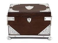 Late Victorian Oak and Silver Plate Rectangular Two Compartment Tea Caddy (6 of 8)