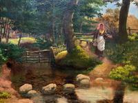 John Barter Lovely 19th Century Oil Painting 'Crossing the Stones' (9 of 14)