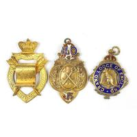 Three silver gilt masonic and RAOB jewels including Grand Lodge of England, the largest 6.5cm high, 89.2g