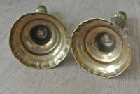 Fine Pair of 18th Century French Brass Candlesticks Seamed (2 of 11)