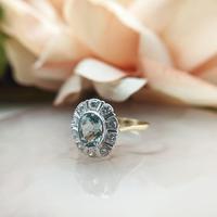 Vintage 18ct Gold Aquamarine & Diamond Cluster Ring, 18k Dress Cocktail Statement (7 of 12)