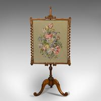 Antique Adjustable Fire Screen, Walnut, Needlepoint, Decorative, Pole, Regency (8 of 12)