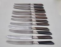 Set of Twelve 19th C. French Table Knives With Ebony Handles, Silver Plated Ferrules And Steel Blades, Circa 1890 (3 of 5)