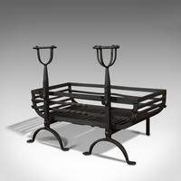 Antique Fire Basket, Pair of Andirons, English, Iron, Fireside, Victorian, 1900 (12 of 12)