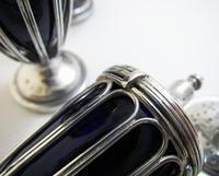Antique English Edwardian (1911) Solid Sterling Silver & Bristol Blue Glass Salt Cellar Pepper Shaker Pots Cruet Set (7 of 7)