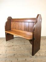 Antique Pitch Pine Chapel Pew with Shaped Sides (2 of 14)