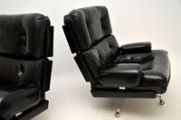Pair of Vintage Leather / Chrome Armchairs & Ottoman by Howard Keith (9 of 16)