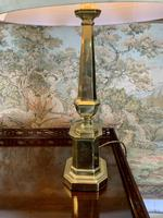 Pair Of Early 20th C Brass Lamps With Silk Shades (2 of 7)