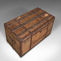 Large Antique Steamer Trunk, English, Pine, Travel, Shipping Chest, Victorian (7 of 12)
