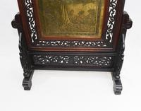Antique Chinese Screen Hardwood Brass Plaque Circa 1890 (8 of 15)
