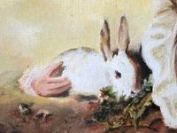19th Century Oil Painting Young Boy & Rabbit After Henry Raeburn (9 of 12)