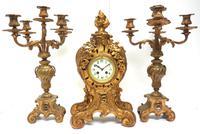 Impressive Candelabra Clock Set French Rococo Ormolu Bronze Mantel Clock. (4 of 10)