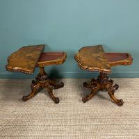 Stunning Pair of Victorian Walnut Antique Card Tables (4 of 9)